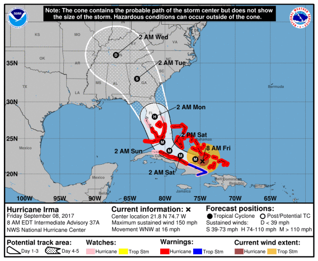 Irma's path as of 9-8