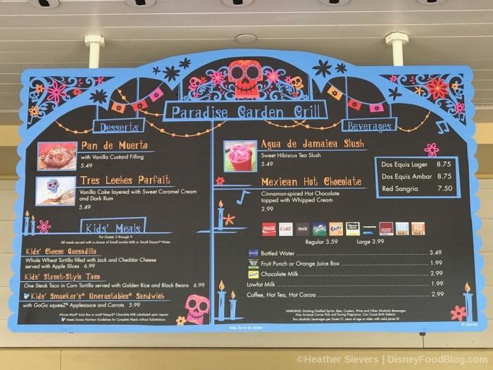 Dia de los Muertos Dessert, Kids, and Drinks menu