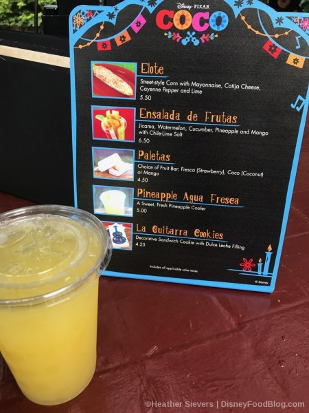 Pineapple Agua Fresca and Menu