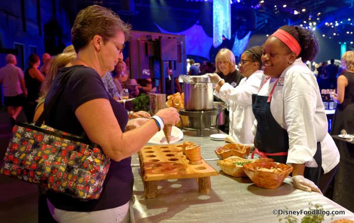 Chef Jennifer-Booker Hill hosting her Tasting Station