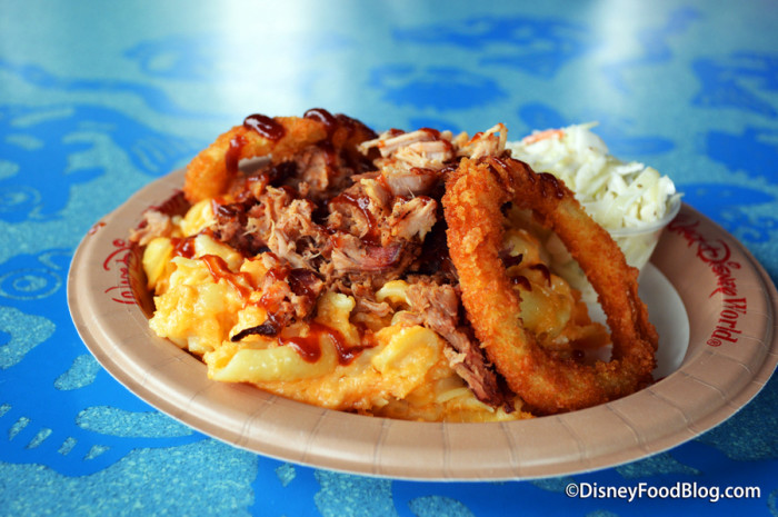 Baked Macaroni and Cheese with Pulled Pork at Flame Tree Barbecue