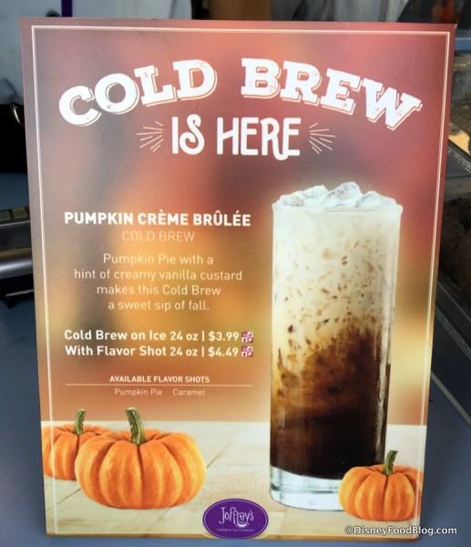 Pumpkin Creme Brulee Cold Brew sign