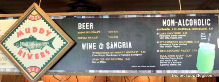 Muddy Rivers Beer, Wine, and Sangria Menu