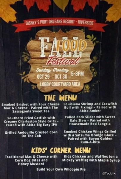 Fall Food Festival Menu
