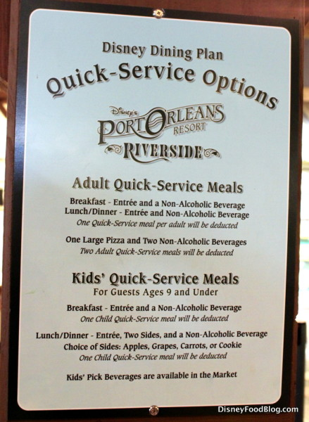 Disney Dining Plan Sign