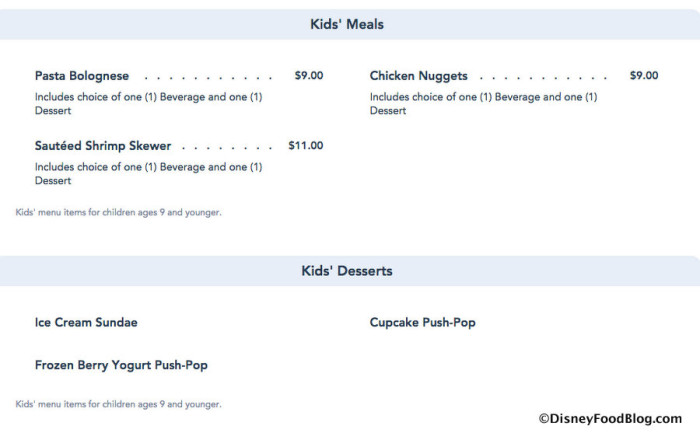 Menu Screenshot from Disney World website