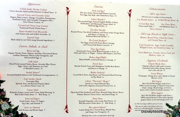 Grand Floridian Cafe menu