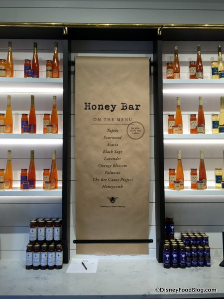 Honey Bar Menu