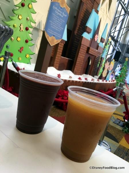 Frozen Hot Chocolate and Frozen Apple Cider