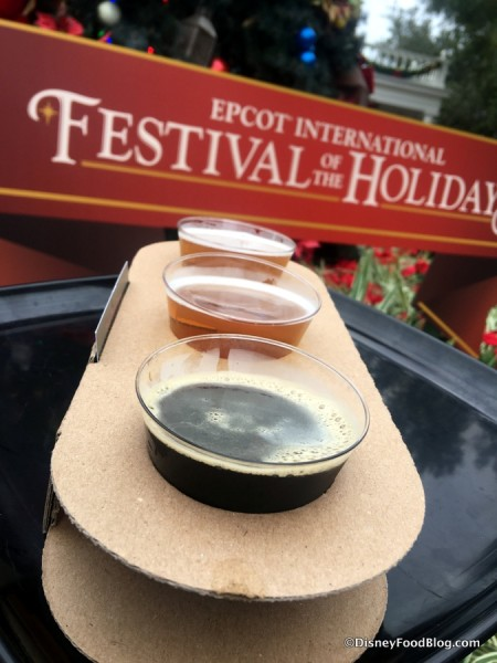 2017 epcot festival of the holidays american holiday table kitchen holiday beer flight 1