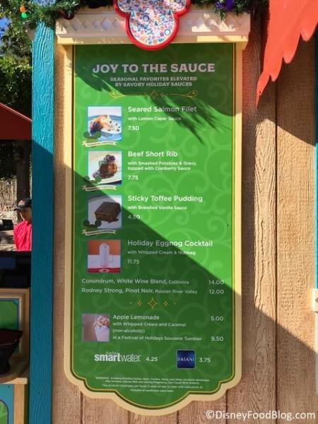 Joy to the Sauce booth menu
