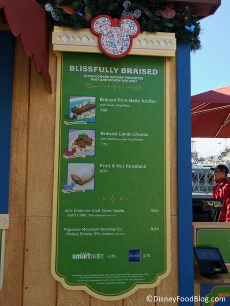 Blissfully Braised booth menu