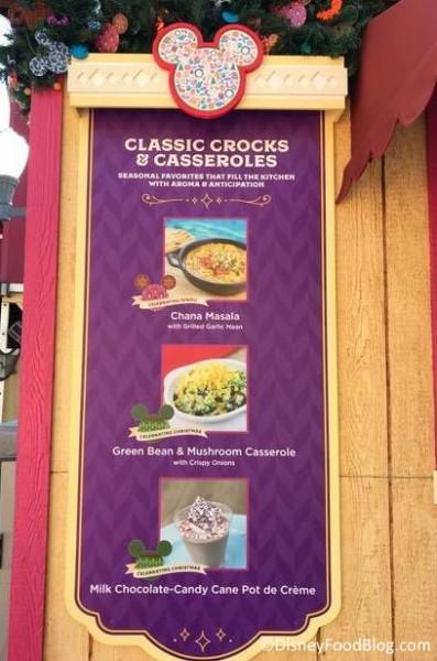 Classic Crocks & Casseroles booth menu