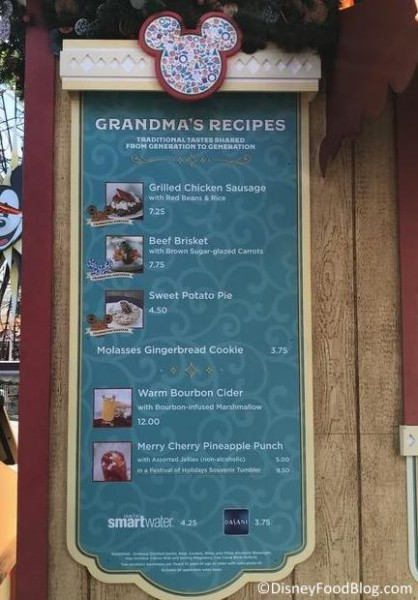 Grandma's Recipes booth menu