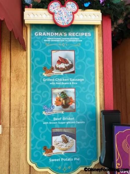 Grandma's Recipes booth menu