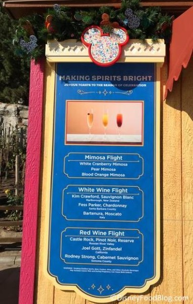 Making Spirits Bright booth menu