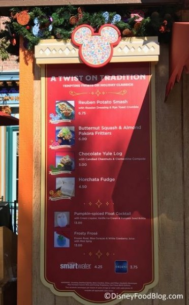 A Twist on Tradition booth menu