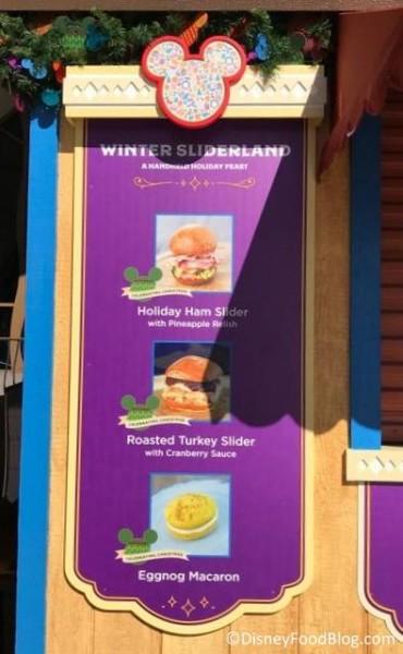 Winter Sliderland booth menu