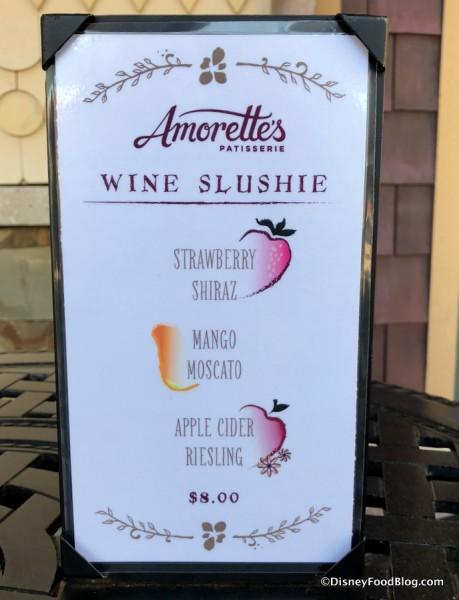 Wine Slushie Menu