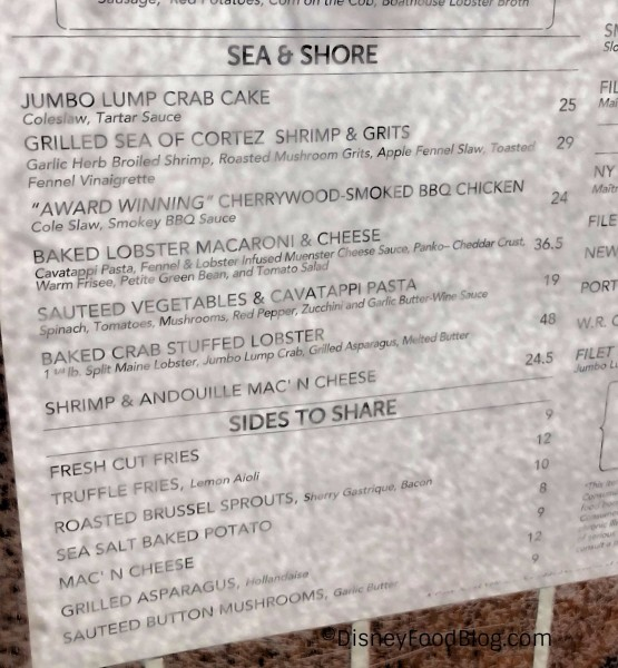 BOATHOUSE current menu
