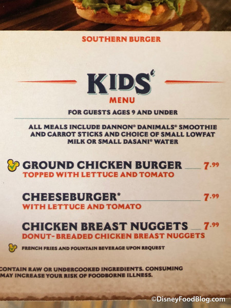 Kids' Menu at D-Luxe Burger
