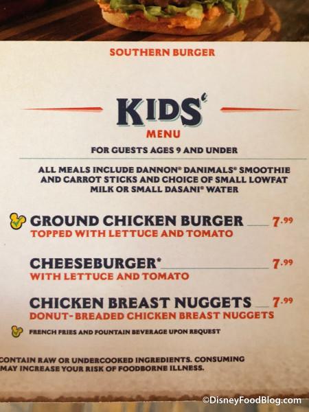 Kids' Menu at D-Luxe Burger