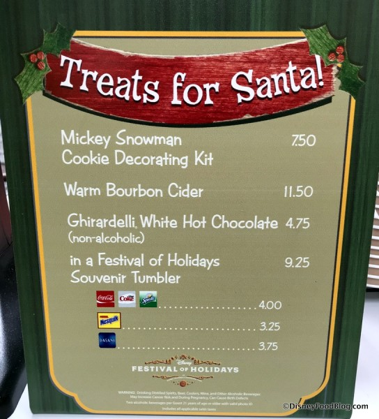 Treats for Santa Menu