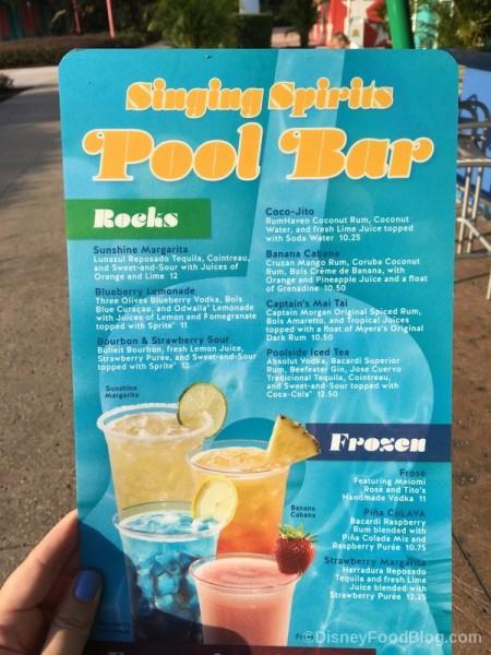 Singing Spirits Pool Bar Menu