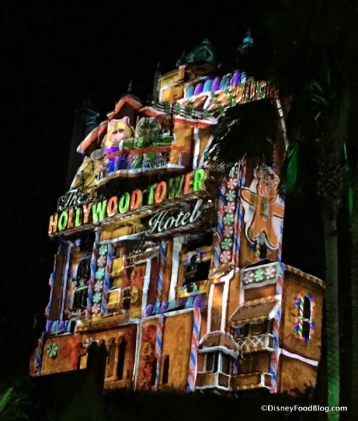 Projections on the Hollywood Tower Hotel during Sunset Seasons Greetings
