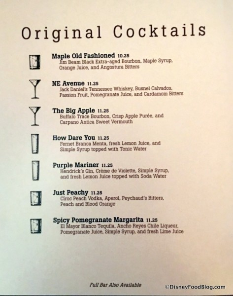 Original Cocktails Menu