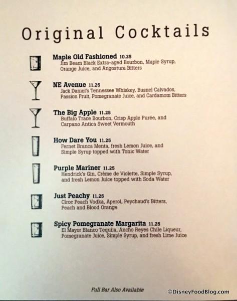 Original Cocktails Menu