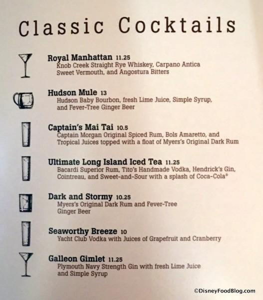 Classic Cocktails Menu