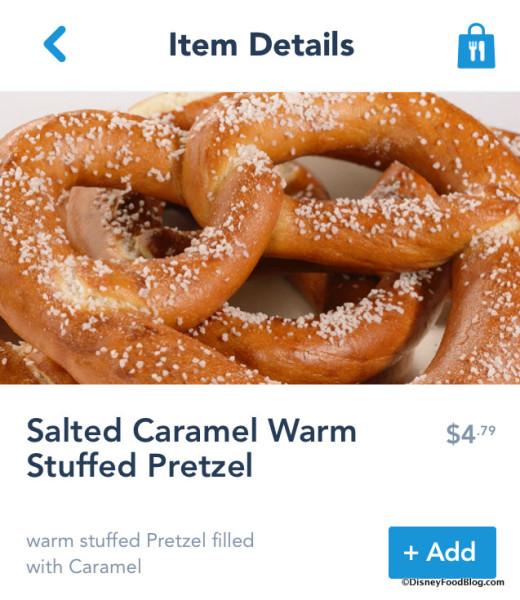 Salted Caramel Warm Stuffed Pretzel on Mobile Order screenshot
