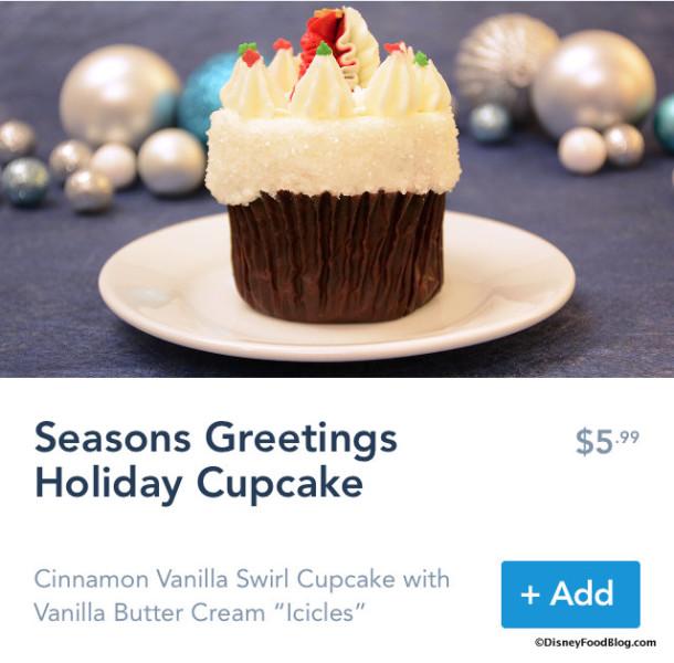 Seasons Greetings Holiday Cupcake on Mobile Order