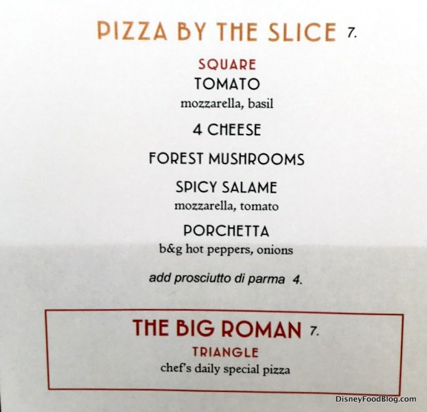 Pizza Menu