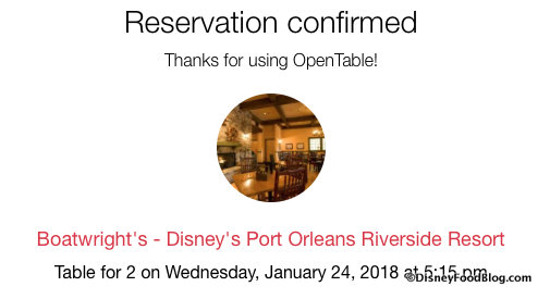 OpenTable Confirmation Message Screenshot