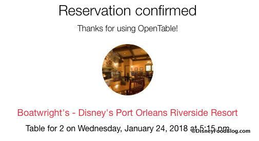 OpenTable Confirmation Message Screenshot