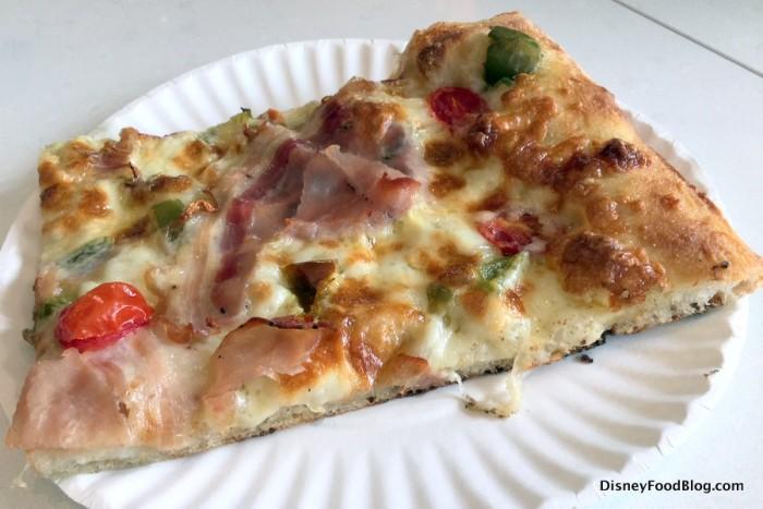 Porchetta Pizza -- Pancetta, hot peppers, onions