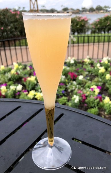 Amaretto Bellini: Amaretto, White Peach Purée and Prosecco
