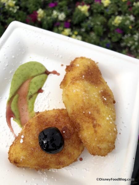 Crema Fitta, Pesche e Rucola Pesto, Ciliege di Amarasca: Cream Fritters, Peach and Arugula Pesto and Amarena Cherries