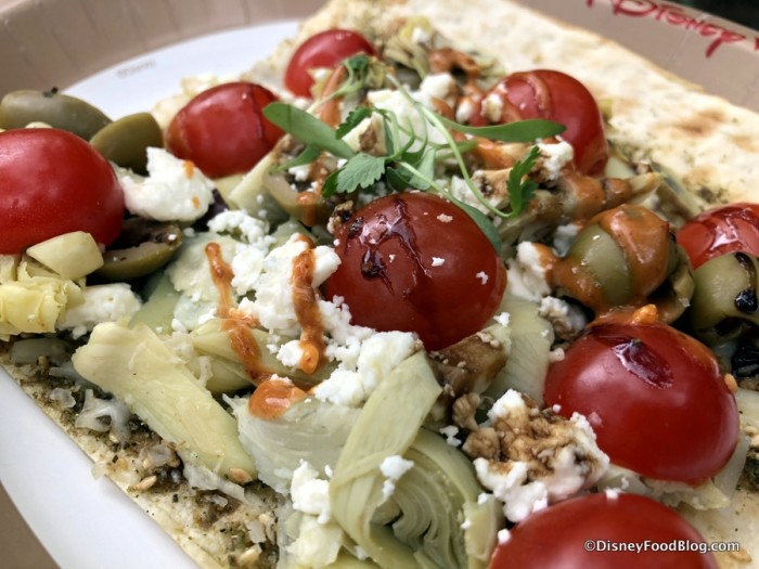 Mediterranean Flat Bread with Zaatar, Olive Oil Artichoke, Olives, Mozzarella and Feta Cheese