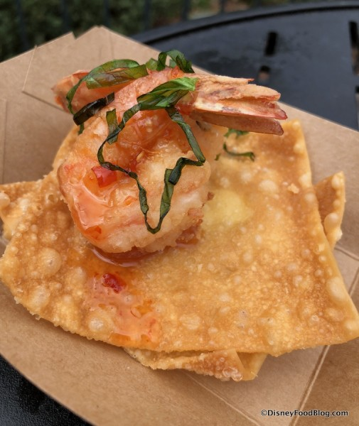 Crispy Fried Shrimp in a Wonton Chip Lotus Flower