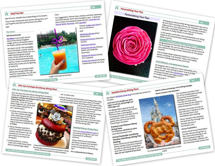 2018 DFB Guide to Walt Disney World Dining Sample Pages