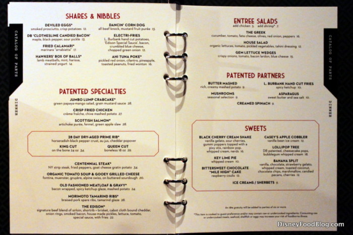The Edison Dinner Menu