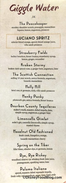 """Giggle Water"" Menu"