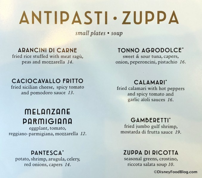 Antipasti and Zuppa Menu