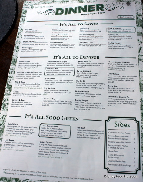 Raglan Road Menu