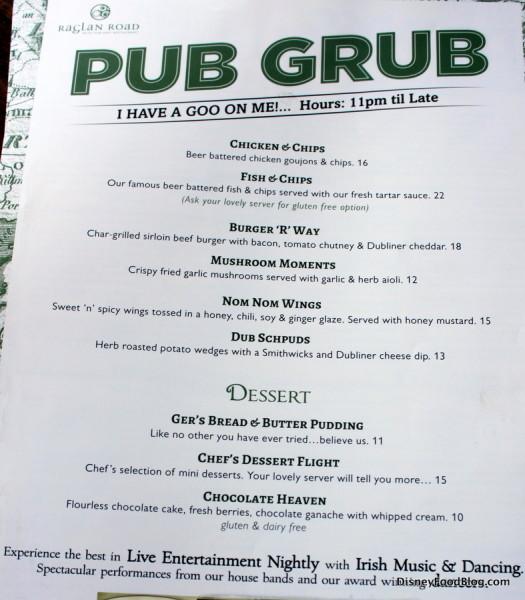 Raglan Road Pub Grub