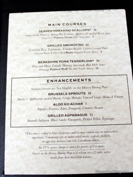 Main Courses and Enhancements
