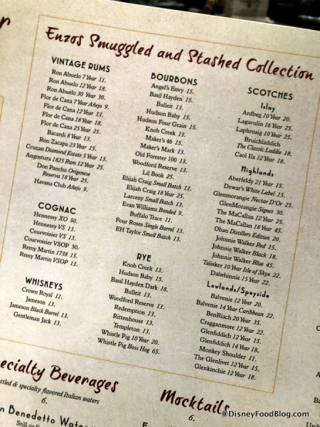 Enzo's Smuggled and Stashed Collection Menu